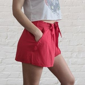 Jeanswest red high waisted shorts with elasticated waistband size 14 waist tie